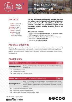 Tbs Education Msc Aerospace Management Program Outline