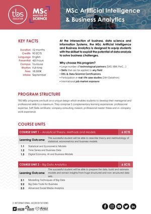Tbs Education Msc Artificial Intelligence & Business Analytics Program Outline