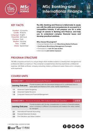 Tbs Education Msc Banking & International Finance Program Outline