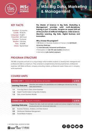Tbs Education Msc Big Data Marketing & Management Program Outline