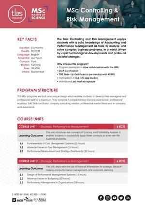 Tbs Education Msc Controlling & Risk Management Program Outline