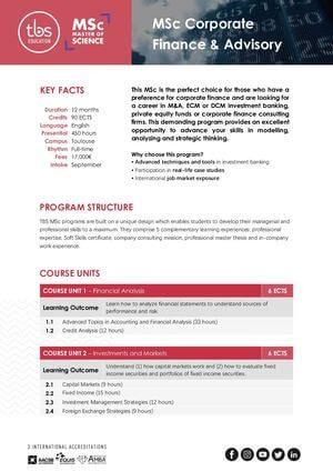 Tbs Education Msc Corporate Finance & Advisory Program Outline