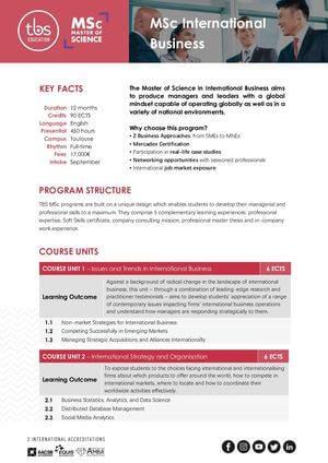 Tbs Education Msc International Business Program Outline