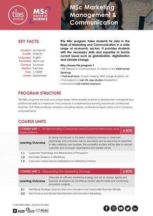 Tbs Education Msc Marketing Management & Communication Program Outline