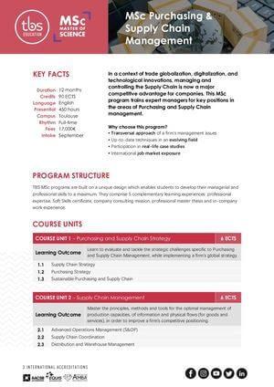 Tbs Education Msc Purchasing & Supply Chain Management Program Outline