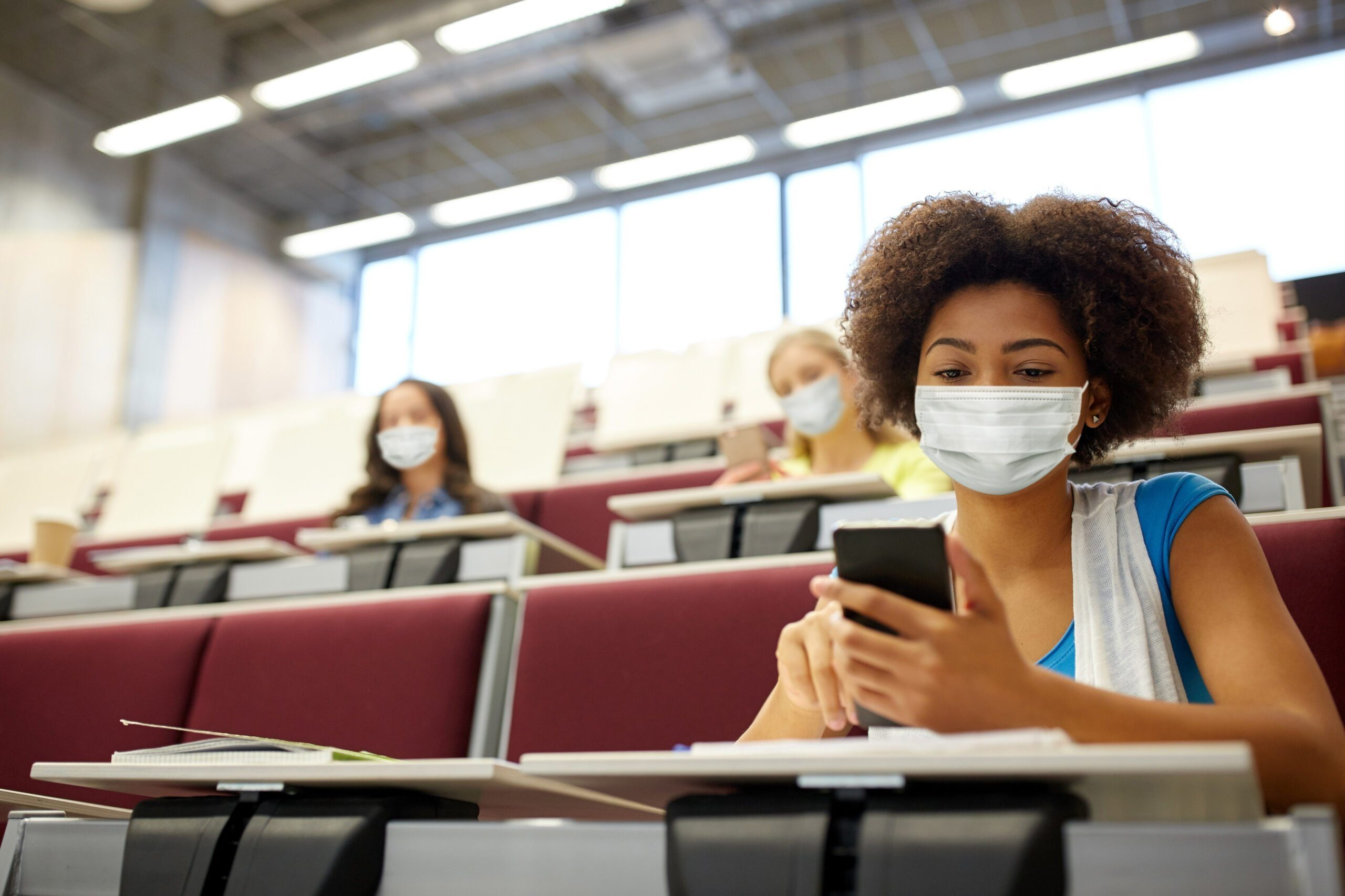 Education,,healthcare,and,pandemic,concept, ,african,student,girl,wearing